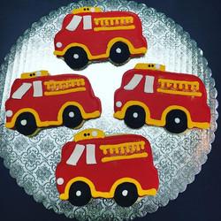 Fire Truck Cut-Outs #birthdayfavors #firetruckred #firetruckcookies