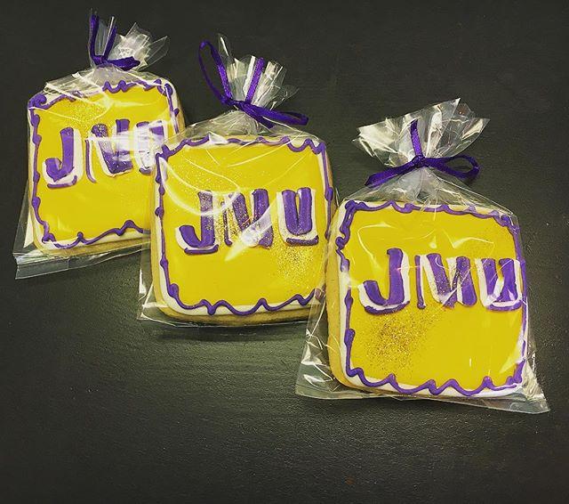 JMU Cookies #jmu #jmucookies #jmudukes #godukes #cutouts #cutoutcookies #logocookies #purpleandgold