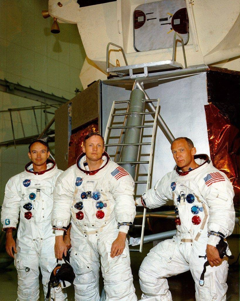 Armstrong with Collins, Aldrin