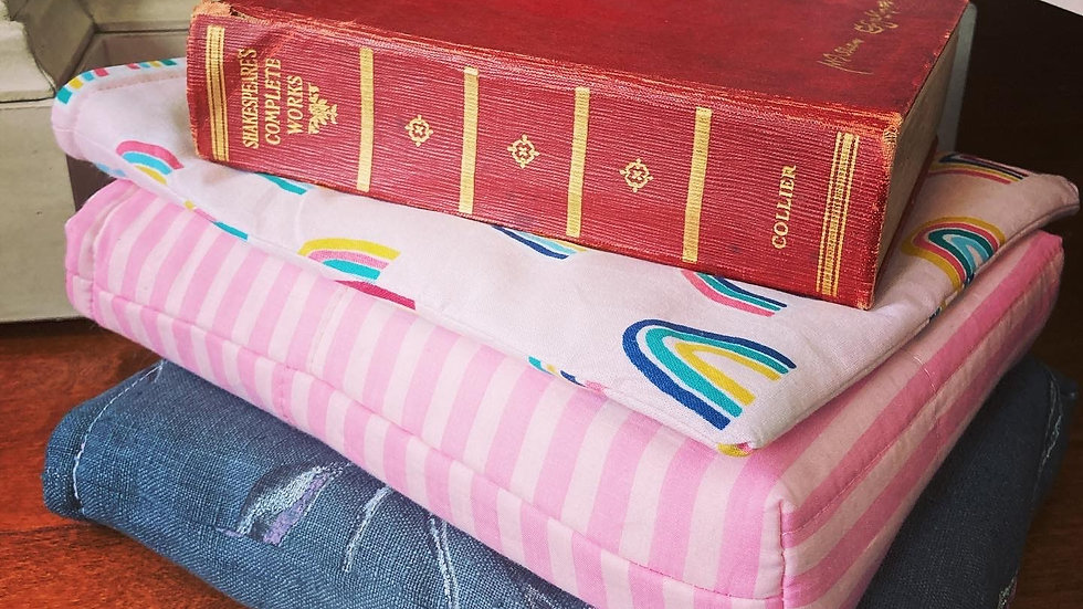 Button Closure Padded Book Sleeve