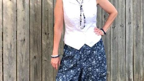 Tutorial/Pattern for Reversible, Convertible harem pant, button cuff shirt