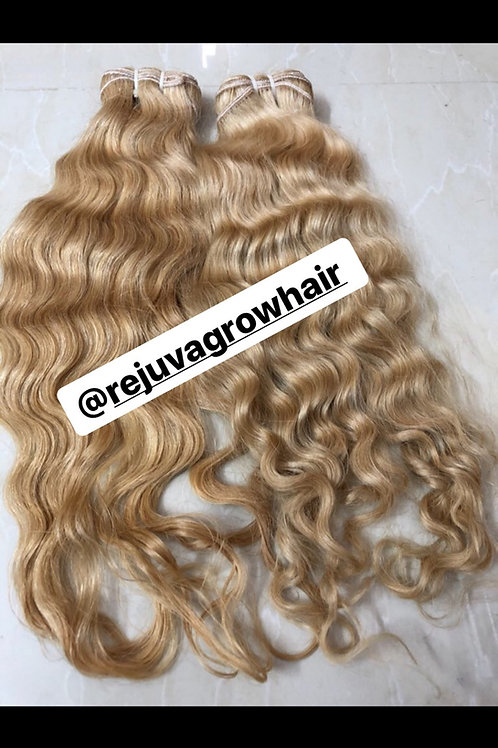 Blonde Coarse Curly/Wavy Indian bundke 18/20""