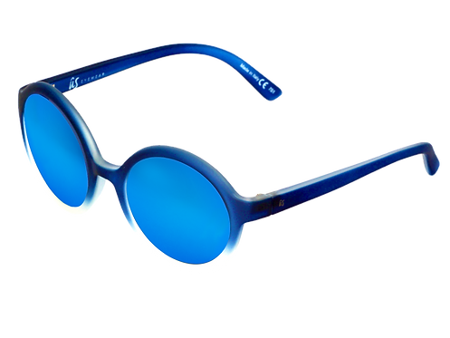 THE IRIS - Matte Blue Fade to Crystal with Blue Chrome Lenses (Made in Italy)