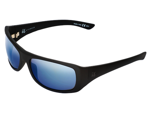 The Carbo eco-friendly sunglasses by Us the Movement in matte black with blue chrome lenses