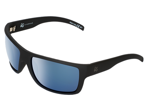 THE TATOU - Matte Black with Blue Metallic Lenses (Made in Italy)