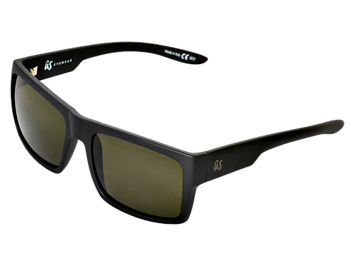 THE HELIOS - Matte Black with Vintage Grey Polarized Lenses (Made in Italy)