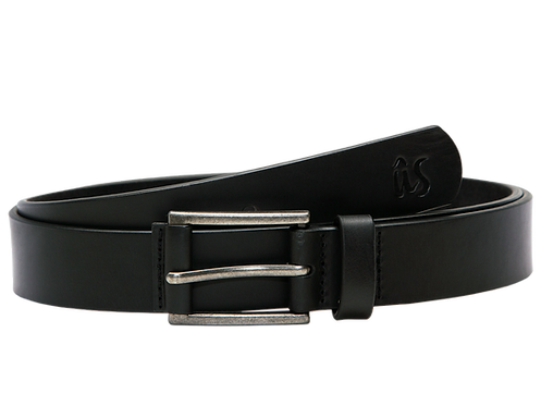 The NowNow Slim Genuine Leather Belt in Onyx Black by Us the Movement