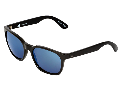 THE BARYS - Gloss Black with Grey Blue Chrome Lenses (Made in Italy)