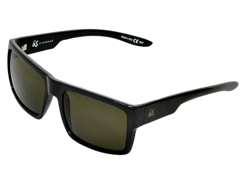 THE HELIOS - Gloss Black with Vintage Grey Polarized Lenses (Made in Italy)