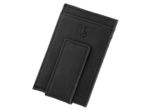 THE BRANDO MONEY CLIP - Genuine Leather Wallet in Onyx Black