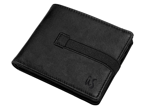The Maxy Strap genuine leather wallet by Us the Movement in onyx black