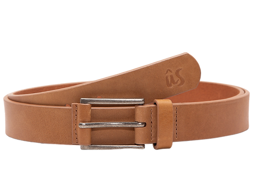 The NowNow Slim Genuine Leather Belt in Savannah Brown by Us the Movement