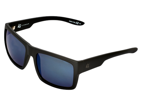 THE HELIOS - Matte Black with Grey Blue Chrome Lenses (Made in Italy)