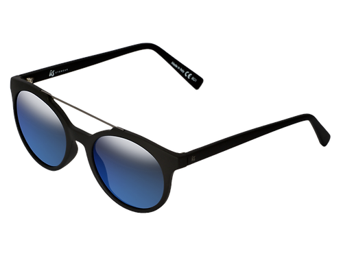 THE CALIX - Matte Black with Grey Blue Chrome Lenses (Made in Italy)