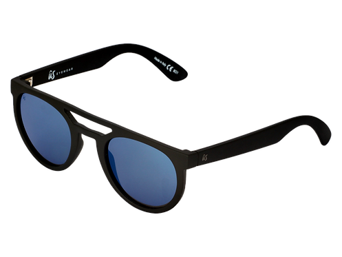 THE NEOS - Matte Black with Grey Blue Chrome Lenses (Made in Italy)