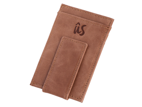 The Brando genuine leather money clip by Us the Movement in savannah brown
