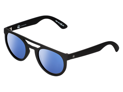 The Neos eco-friendly sunglasses by Us the Movement in matte black with blue chrome lenses