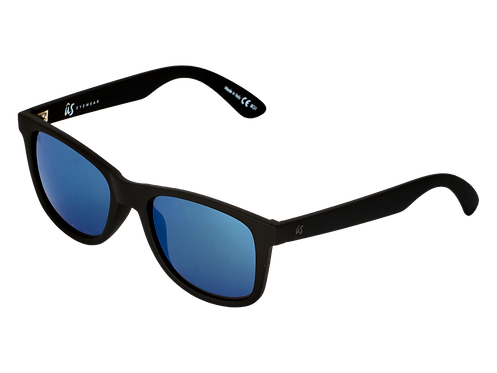 THE MATY - Matte Black with Grey Blue Chrome Lenses (Made in Italy)