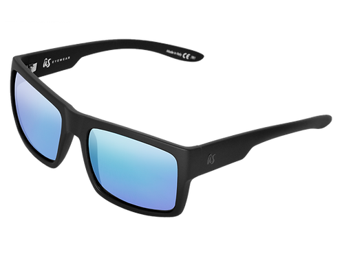 The Helios eco-friendly sunglasses by Us the Movement in matte black with blue chrome lenses