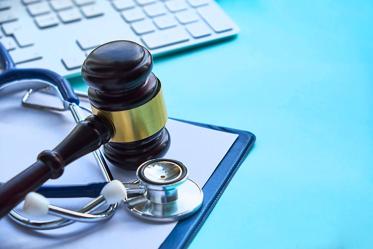 Gavel and stethoscope. medical jurisprud