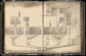 Vieux livre avec plan, carte du site