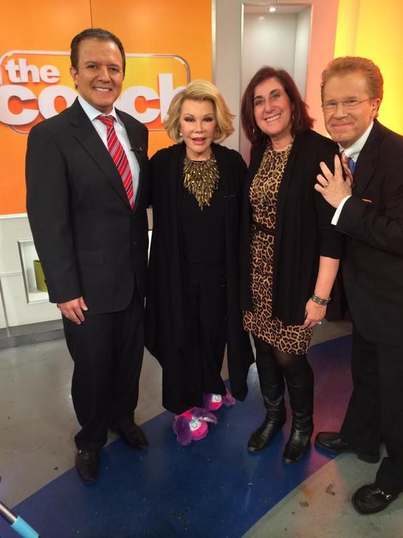 AJ Khuban, Joan Rivers, Andrea Pass and CBS 2 Weatherman John Elliott 2014