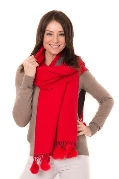 Anna Two Tone Wrap - Red/Grey