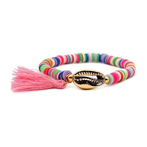Shell Beach Bracelet - Pink Tassel
