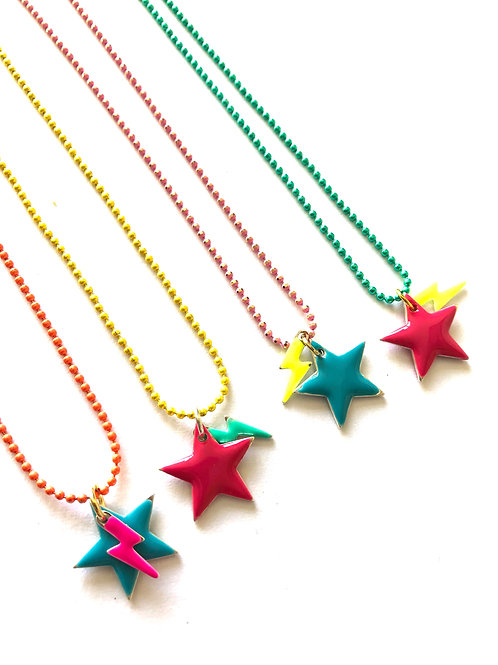 Candy Lightning Star Necklace - Pink Star