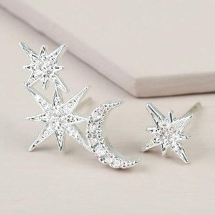 Mismatch Moon & Star Earrings - Silver