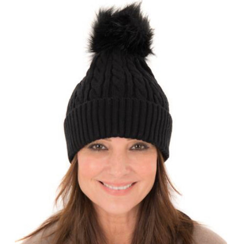Cable Knit Beanie -Black
