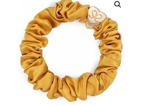 Silk Scrunchie - Mustard Yellow  / Gold Heart