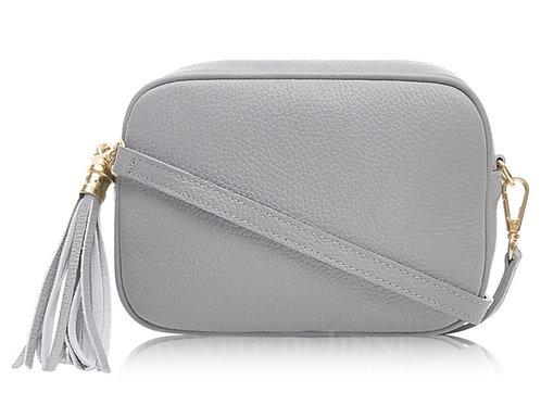 Lila Leather Cross Body Bag - Light Grey