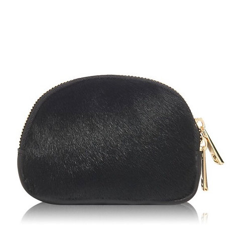 Textured Leather Coin Purse - Black