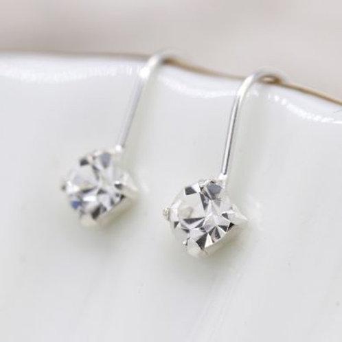 Sterling Silver Mini Crystal Drop Earrings