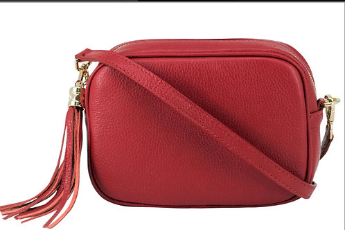Lila Leather Cross Body Bag - Red