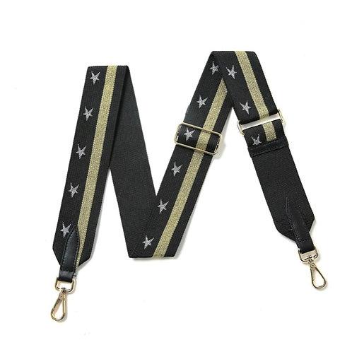 Black Star Bag Strap - Gold Stripe