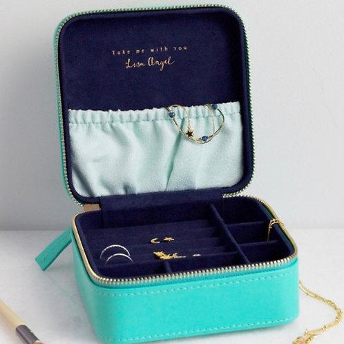 Square Travel Jewellery Box - Sea Green