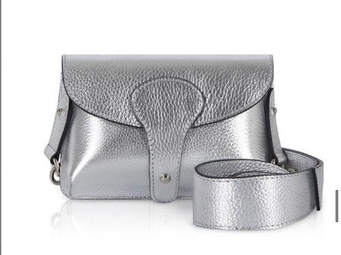 Bria Leather Clutch Bag - Silver