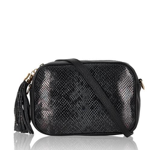 Jade Leather Bag -  Dark Grey Snake Print