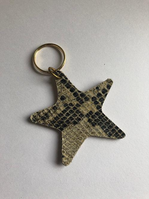 Leather Star Keyring - Snake Print