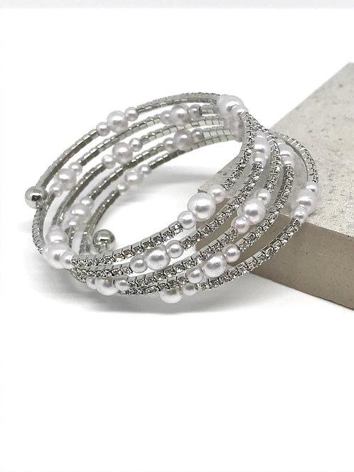 Pearl Crystal Wrap - Silver