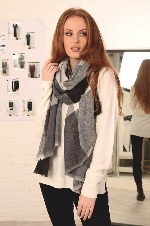 Check Print Blanket Scarf - Black