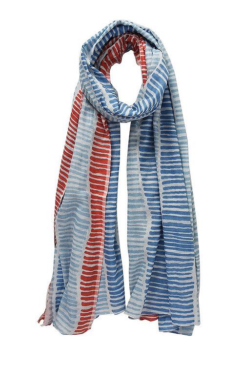 Vertical Striped Scarf - Blue/Red