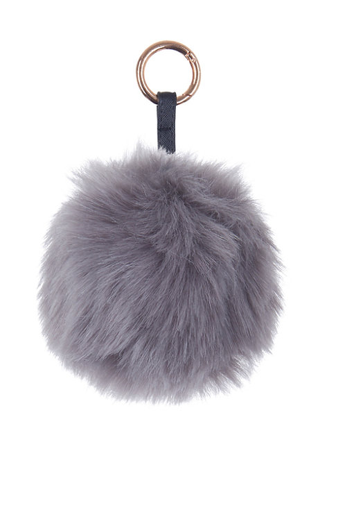 Pom Pom Key Ring - Grey