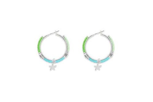 Ibiza Hoop Earrings -Silver/Mint