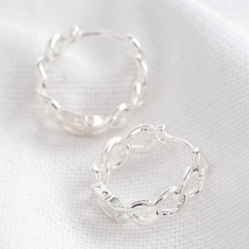 Chain Huggie Hoop Earrings - Silver
