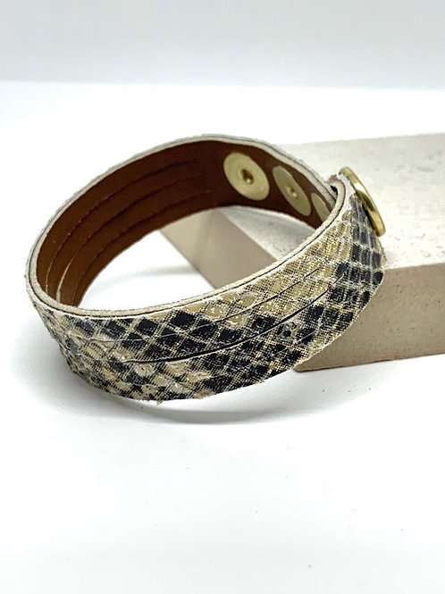 Leather Cuff - Snake Print