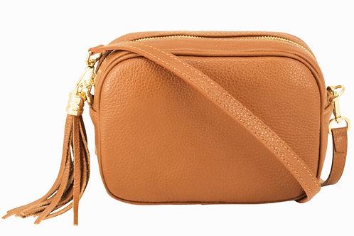 Lila Leather Cross Body Bag Light Tan