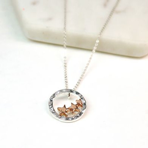 Hoop Rose Gold Stars Necklace - Silver Plated